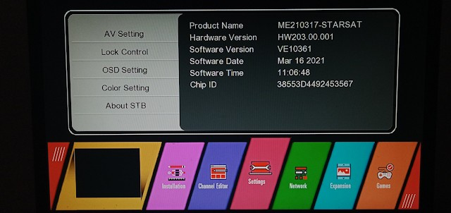 STARSAT GX6605S HW203 SERIES U38 MENU NEW SOFTWARE