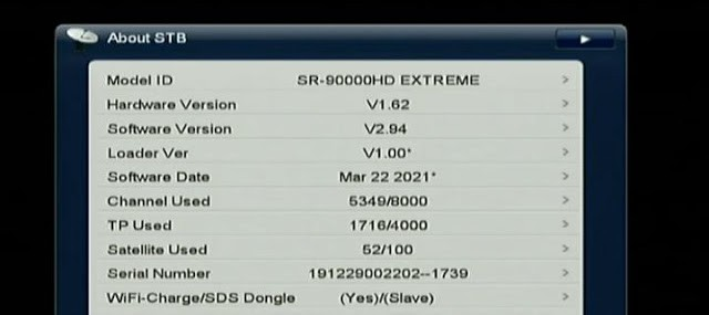STARSAT SR 90000HD EXTREME NEW SOFTWARE V2.94